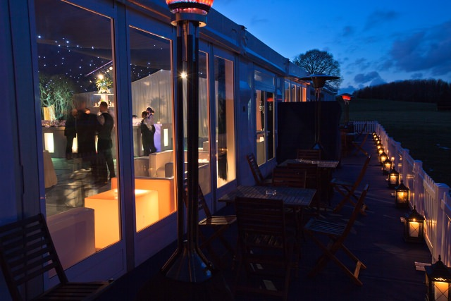Glass windows onto the marquee terrace