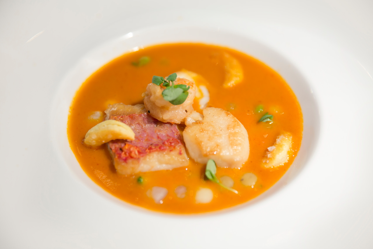 Dine's Fish Soup Starter - Scallop, Red Mullet & King Prawn in Seafood Bisque