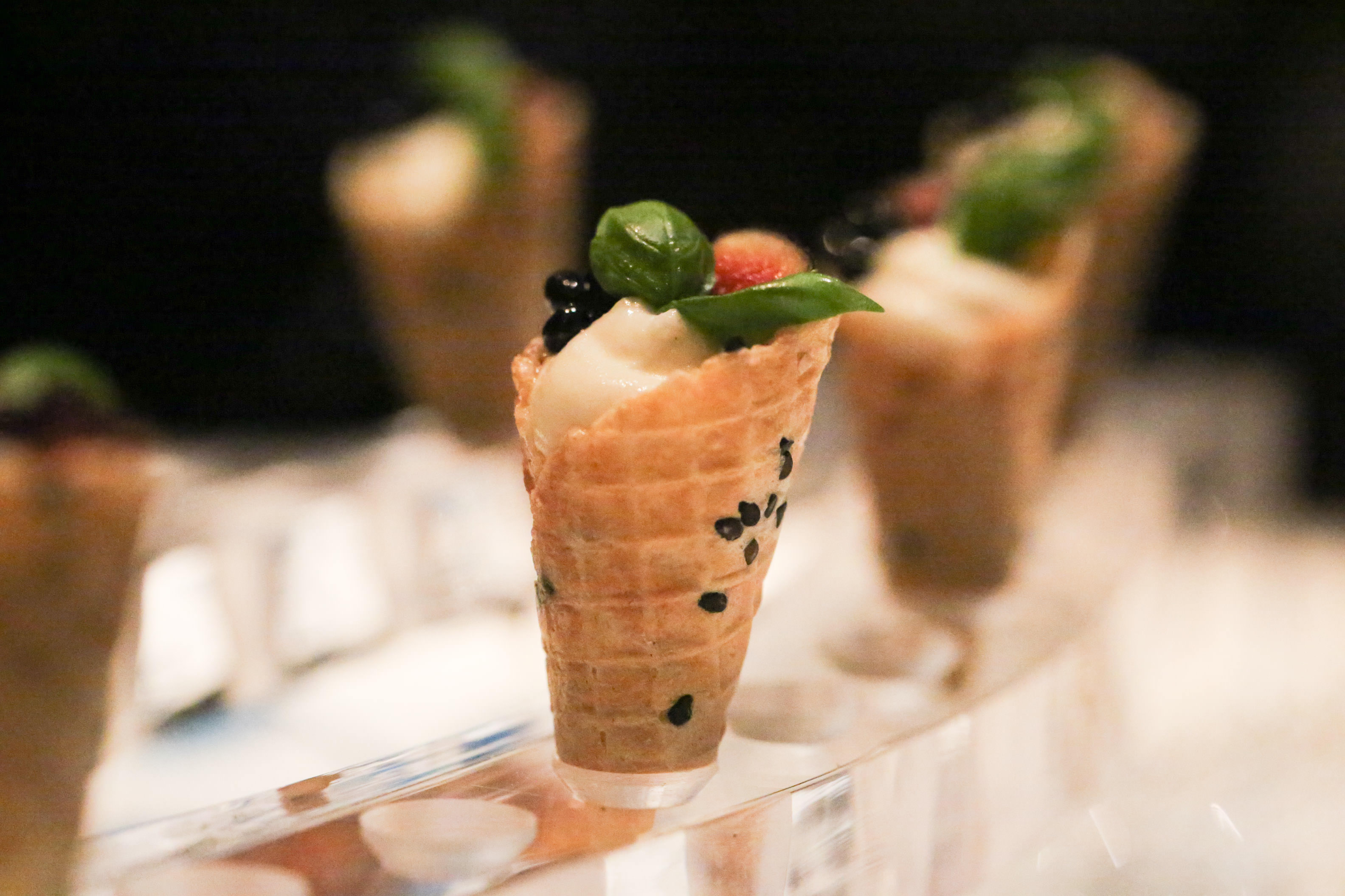 Caprini Goats Cheese Cones with Tomato & Dill Concase, Fig & Balsamic Caviar