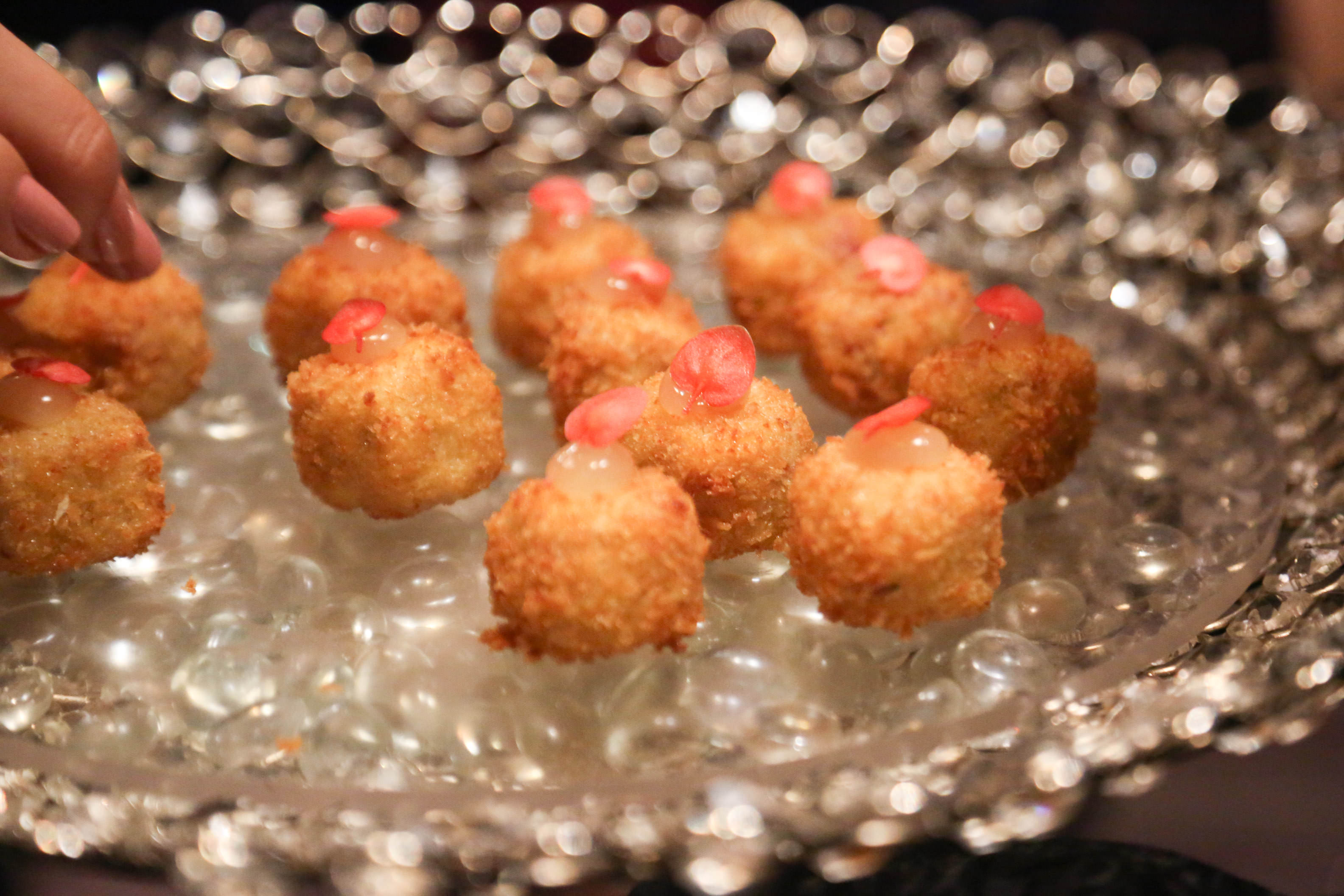 Ham Hock & Smoked Wensleydale Croquette with Apple Gel, served in a smoking dome