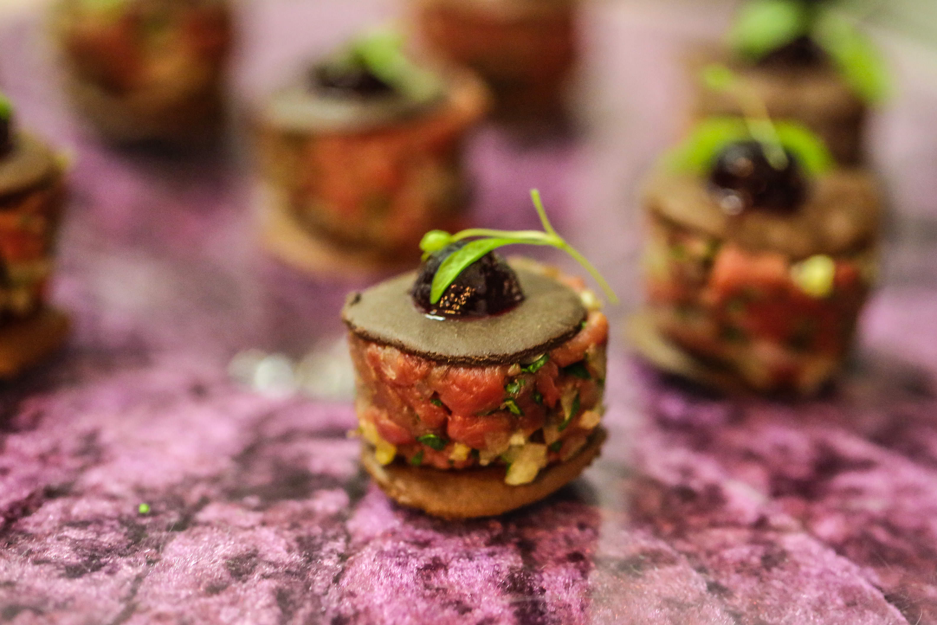 Venison Tartare on Chocolate Spätzle Discs