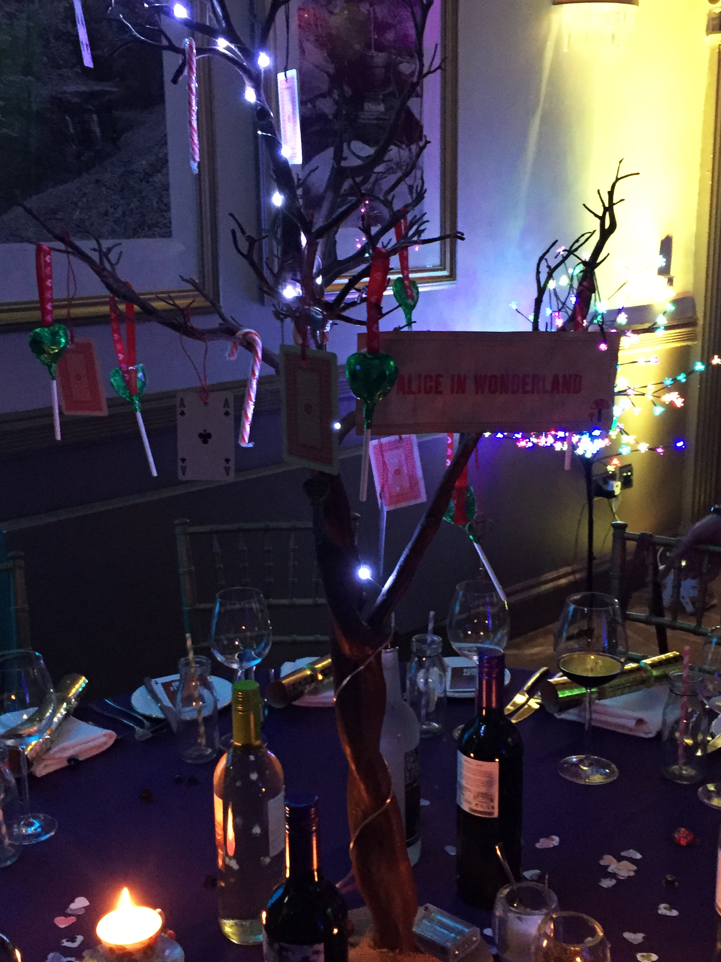 Centrepieces dressed with treats and fairy lights