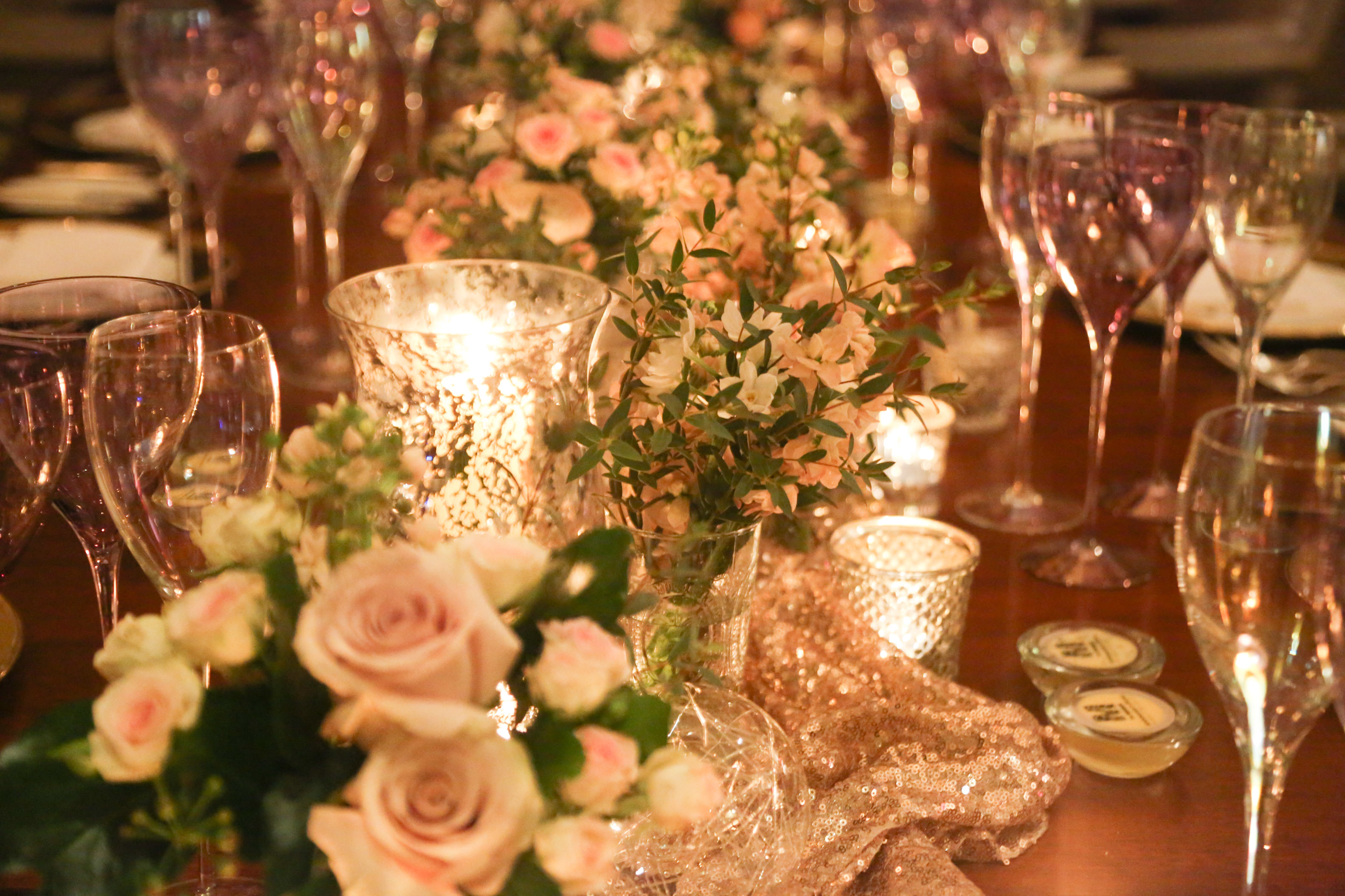 Sequin runner, candle & floral table decoration
