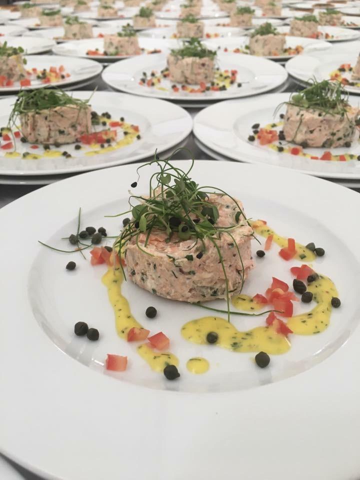 Dine Events | Starter | Oak Roasted Salmon Pâté - Crème Fraiche, caper & citrus dressing with micro herbs