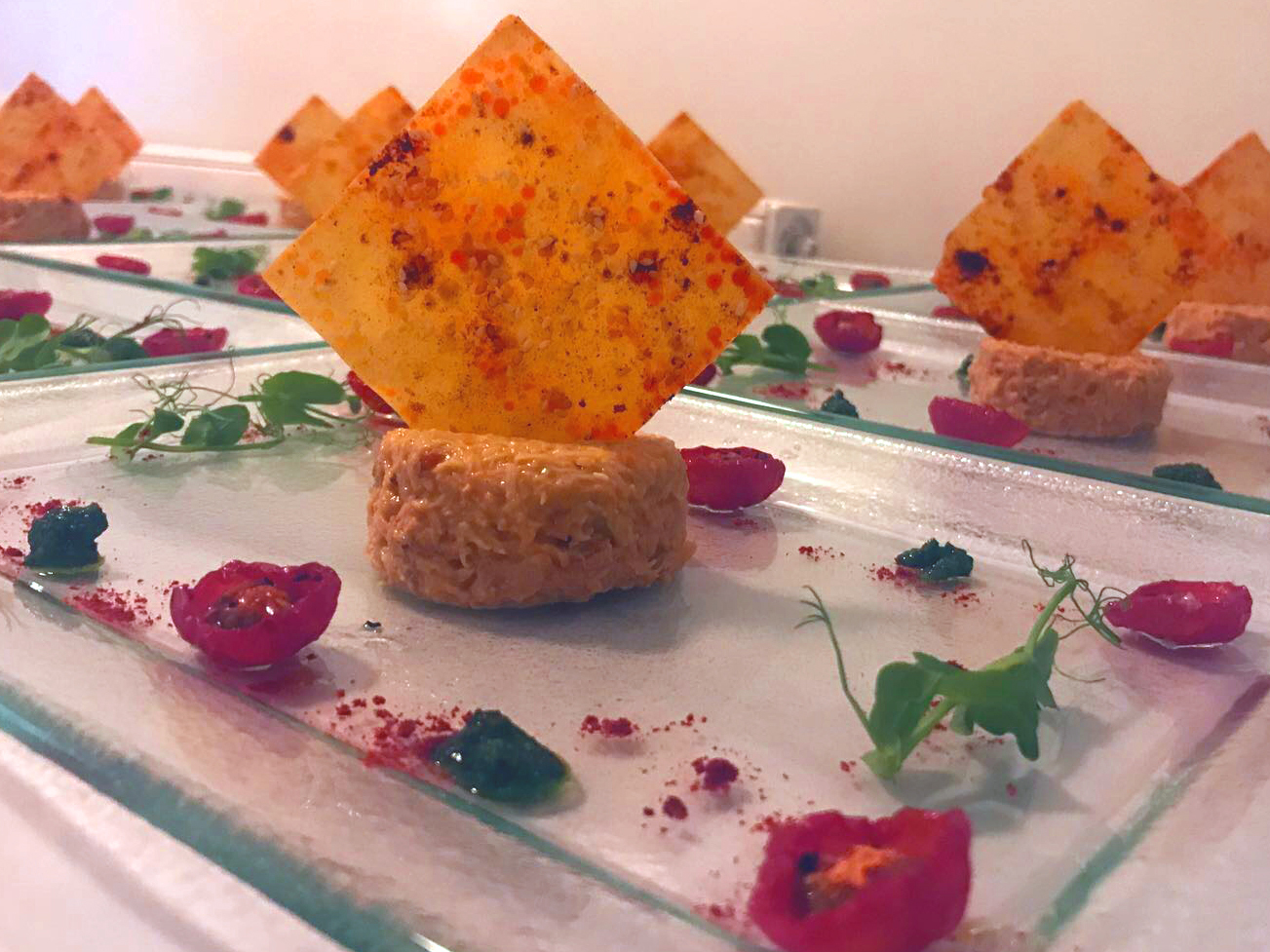 Dine Events Catering | Whitby Crab in a tomato aioli with smoked paprika wonton, marinated pomodorino tomatoes