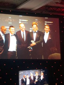 Dan & Matt picking up the Dine Delivered Catey Award for Best Use of Technology